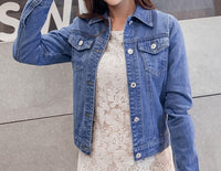 Jeans Jacket and Coats for Women Autumn Candy Colour Casual Short Denim Jacket