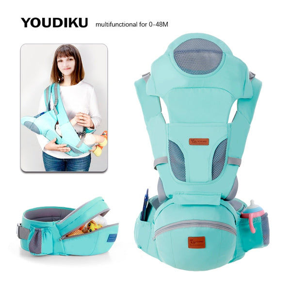 Ergonomic Baby Carrier 0-48M Baby Hip-seat Carrier Front Facing Ergonomic Kangaroo Baby Wrap Sling for Baby Travel