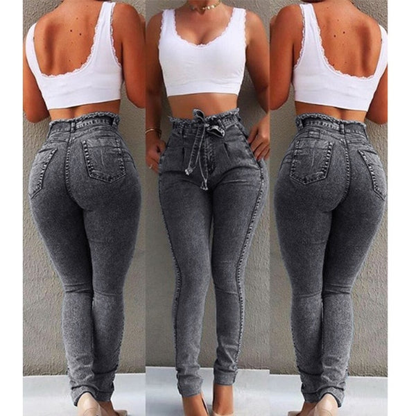 High Waist Jeans For Women Slim Stretch Denim Jean Body-con Tassel Belt Bandage Skinny Push Up Jeans Woman
