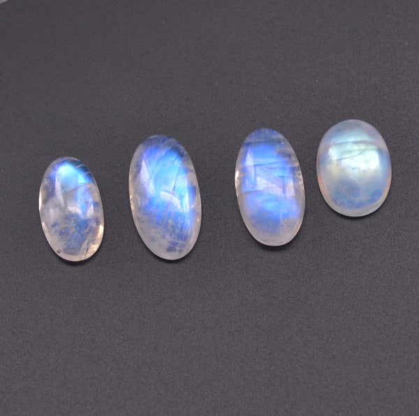 1 piece  Natural Moonstone 10x12mm-12x23mm Water-drop and Oval Flat Nonporous Beads  for  Jewellery Making Inlay Ring