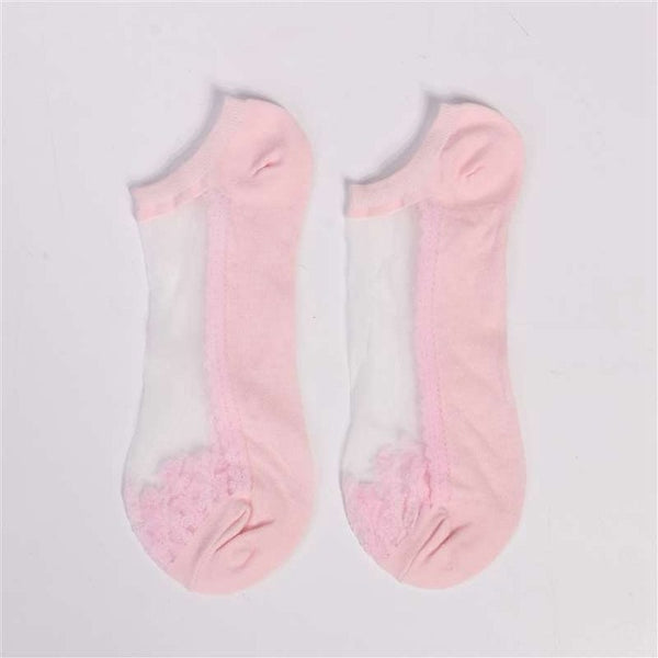 Sexy Lace Mesh Fishnet Socks Mixed Fiber Transparent Stretch Elasticity Ankle Net Yarn Thin Women Cool Socks 1pair=2pcs
