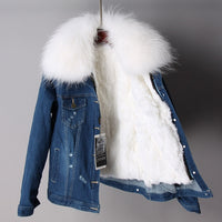 2020 Casual new fur coat Winter Jacket Women Holes Jeans Denim Jacket Parka Real Raccoon Fur Collars Rabbit Fur Liner Warm