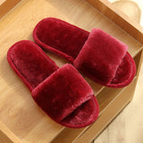 Furry Slides Women Home Slippers Winter Warm Shoes Woman Slip on Flats Slides Female Faux Fur Slippers
