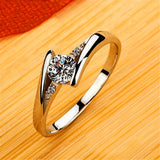 Cute Female Small Round Zircon Stone Ring Vintage Silver Colour Wedding Jewellery Promise Crystal Engagement Rings For Women