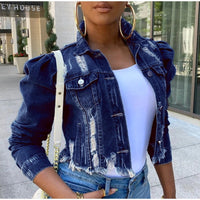 Autumn Women Sexy Ripped Denim Jackets 2020 Vintage Casual Short Jean Jacket Puff Sleeve Winter Female Coat Streetwear Plus Size