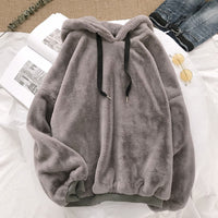 Autumn Winter Coats Solid Sweet Hooded Women Loose Casual Warm Hoodies Ladies Fleece Flannel Pullover Female Sweatshirt