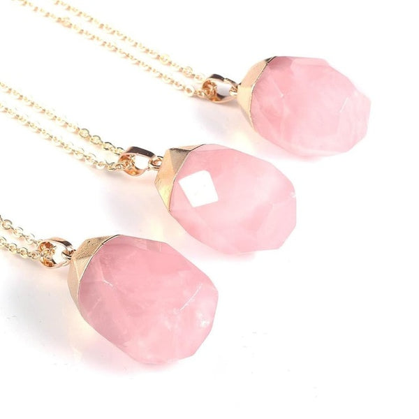 Natural Rose Quartz Stone Pendant Charms Pink Crystal Necklace Alloy Metal Chain Jewellery Box For Women Gifts