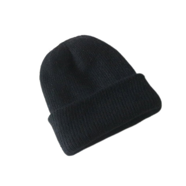New Simple Rabbit fur Beanie Hat for Women Winter Skullies Warm Wool Cap Gorros Female Cap