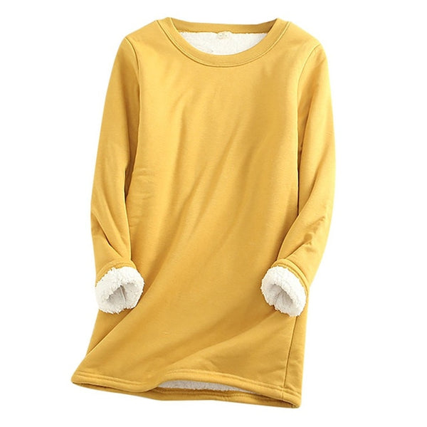 2020 Winter Women Thick Fleece Sweatshirt Velvet Warm Solid O-neck Underwear Blouse Tops