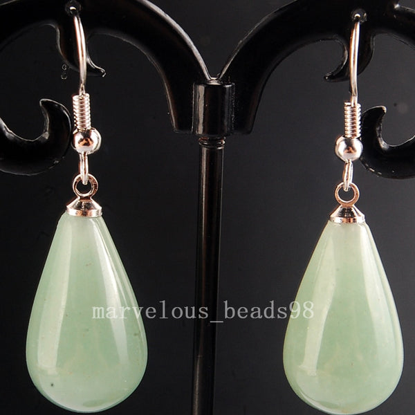Beautiful Green Round Water Drop Beads Earring