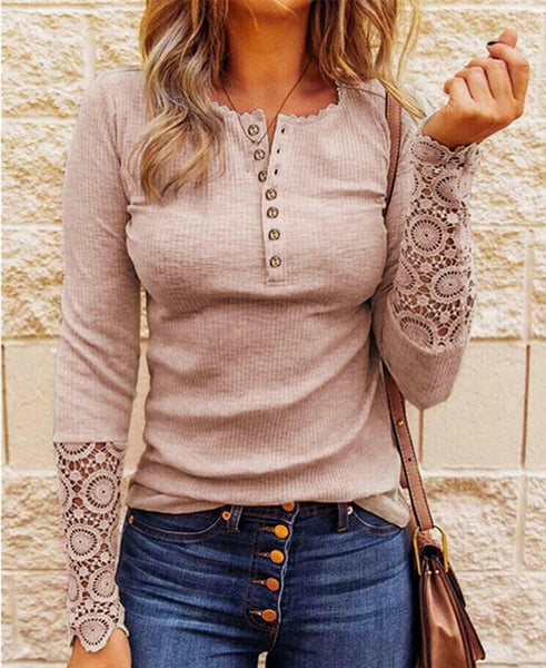 Lace Splicing Top Long Sleeve T Shirt Woman Button Slim Tops Tee Autumn Spring Patchwork Sleeve T-shirt Women Sexy Streetwear