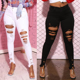 New Black White Stretch Ripped Jeans Skinny Jeans Women Denim Pants Holes Destroyed Knee Pencil Pants Casual Trousers