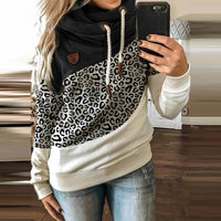 Women Patchwork Hooded Sweatshirt Autumn Winter Leopard Print Drawstring Hoodie Casual Long Sleeve Pullover Tops Female