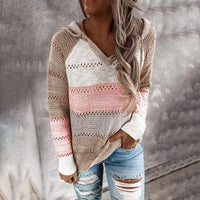 Women V Neck Hooded Sweater 2020 Autumn Patchwork Knitted Sweater Elegant Striped Long Sleeve Pullovers Casual Loose Jumper Tops