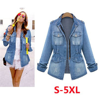 High Quality Denim Jackets Women 2020 Autumn Fashion Long Sleeve Jeans Coat  Casual Denim Outwear Tops Plus Size 5XL