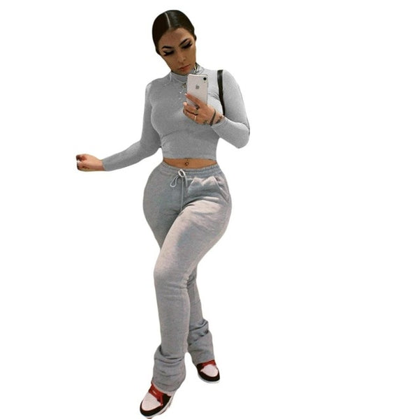 Women Workout Two Piece Set Casual Solid Long Sleeve Crop Tops T-Shirt Leggings Stacked SweatPants Suit Outfit Joggers Tracksuit