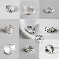 Vintage Silver Colour Metal Punk Letter Open Rings Design Finger Rings for Women men Party Jewellery Gifts LETTER