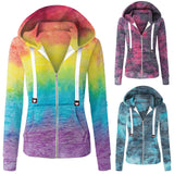 Women Hoodies Sweatshirts Women Casual Tie-Dye Long Sleeve Zipper Pocket Hooded Sweatshirt Tops Zipper Coat Outwear New