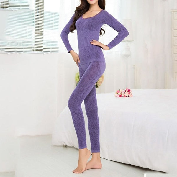 Women Sleepwear Autumn Winter Lace Round Neck Thermal Long Thin Section Sets Lined Underwear Top & Bottom Pajama SUIT