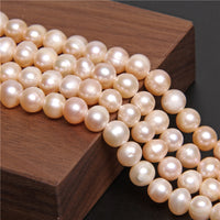 "6-9mm White Real Potato Round Pearls Freshwater Natural Pearl Beads For DIY Necklace Bracelets Earring Jewellery Making 14"" Strand"