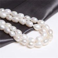 White Oval Pearls Strand Pearl Bead Real Freshwater Drop Pearl Beads Natural Large Hole Pearls 7-8mm Jewellery