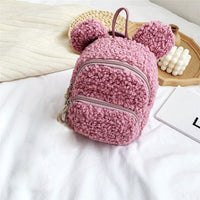 Cute Toddler Children Girls Fleece Cartoon Backpack School bag Shoulder Bag Rucksack (Bear Doll Not Included/1PC Randomly)