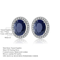 Gem's Ballet  4.04t Oval Natural Blue Sapphire Gemstone 925 Sterling Silver Stud Earrings With Jackets Fine Jewellery for Women