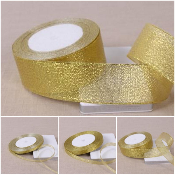 1 Roll 25 Yards Gold Polyester Ribbon Christmas Wedding Decoration Gift Wrap Box Package Onion Fabric Ribbons DIY Accessories