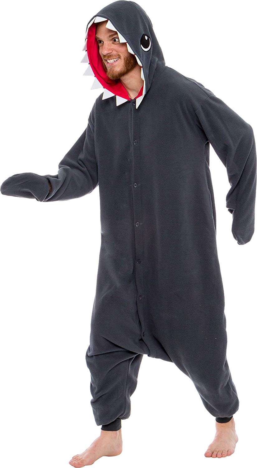 Adult Animal Onesie <br>Grey Shark (Mens)