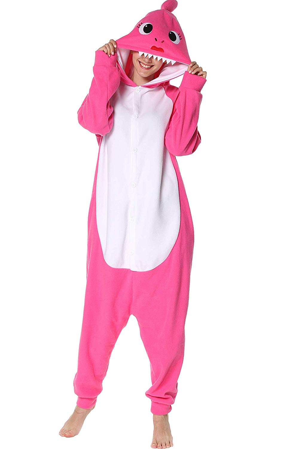 Adult Animal Onesie <br>Pink Shark