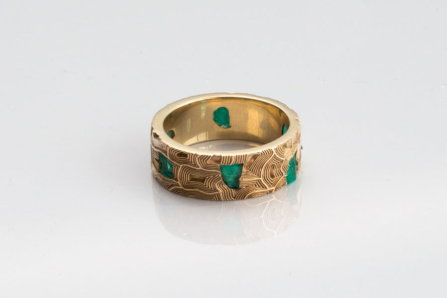 Turtle Raw Emerald Band