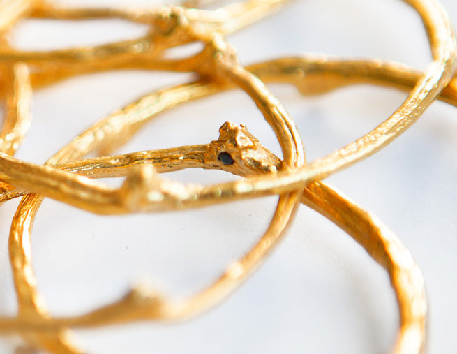 Gold branch bangle, natural sapphire, recycled bronze, sustainable gold branch bangle. Gold brach bracelet