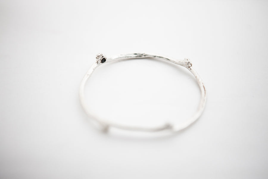 Sustainable silver branch bangle, everyday basic ethical branch bracelet, natural sapphire. Silver branch bracelet.