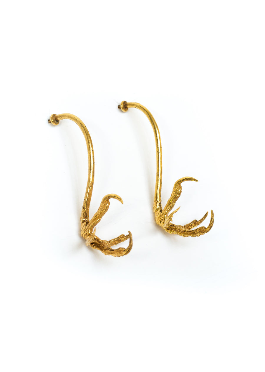 Gold Raven Claw Earrings. Made from recycled bronze with 22 karat gold vermeil. Handmade in Mexico City.