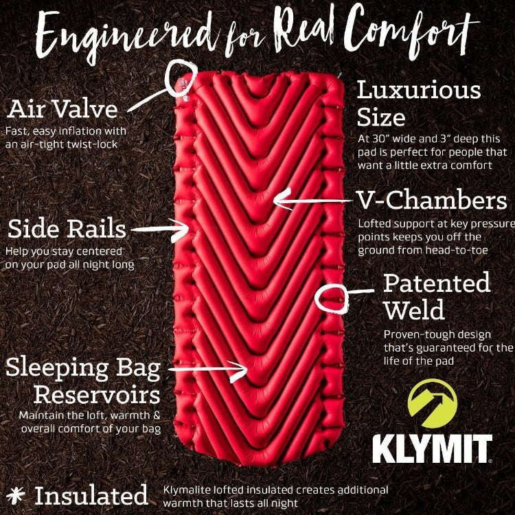 Klymit Insulated Static V Luxe Sleeping Pad Xl R Value 5