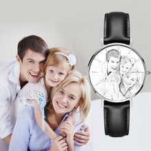Load image into Gallery viewer, Custom Sketch Photo Watch Senior Black Leather