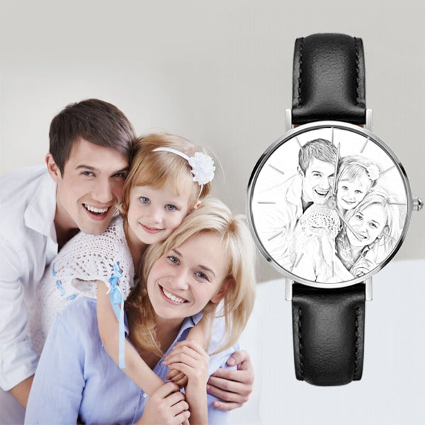 Custom Sketch Photo Watch Senior Black Leather