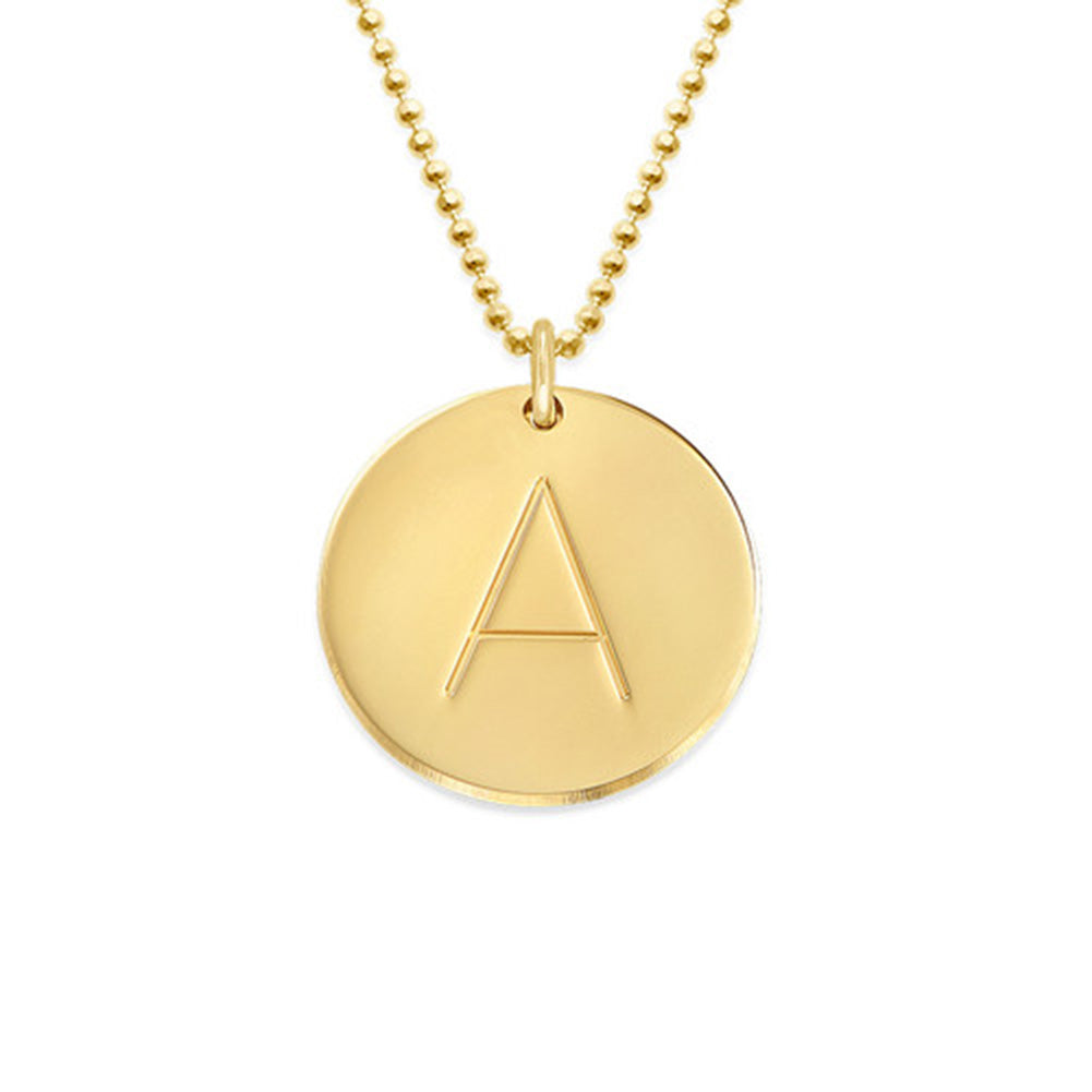Gold Plated One Initial Necklace