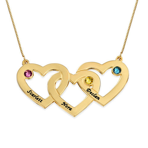 18 K intertwined-hearts-birthstone-gold-necklace
