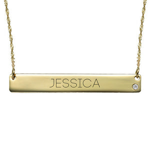 14K Gold Bar Necklace with Diamond Engraving