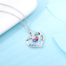 Load image into Gallery viewer, Forever Together Engraved Birthstone Necklace in Silver