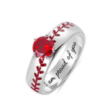 Load image into Gallery viewer, Engraved Baseball Texture Solitaire Birthstone Ring in Silver