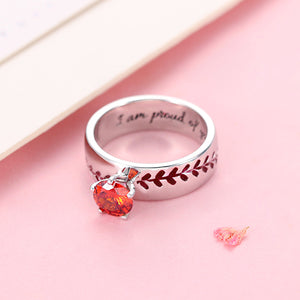 Engraved Baseball Texture Solitaire Birthstone Ring in Silver