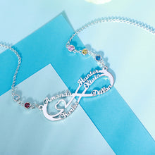 Load image into Gallery viewer, Personalized 5 Names Infinity Necklace with Birthstone
