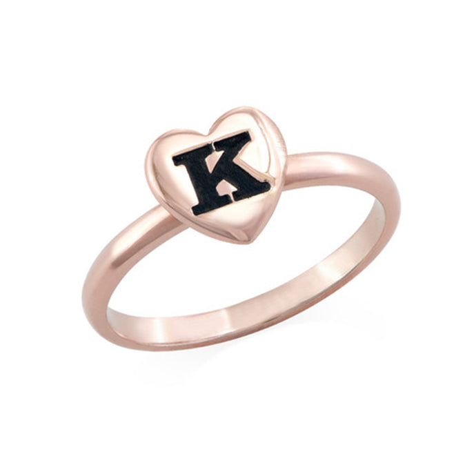 18K Rose Gold Plated Heart Initial Stacking Ring