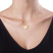 Load image into Gallery viewer, 18k Gold Plated Engraved Heart Necklace Pandent