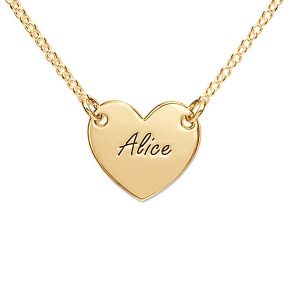 18k Gold Plated Engraved Heart Necklace Pandent