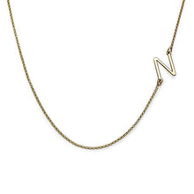 Load image into Gallery viewer, 18k Gold Plated Sideways Initial Necklace