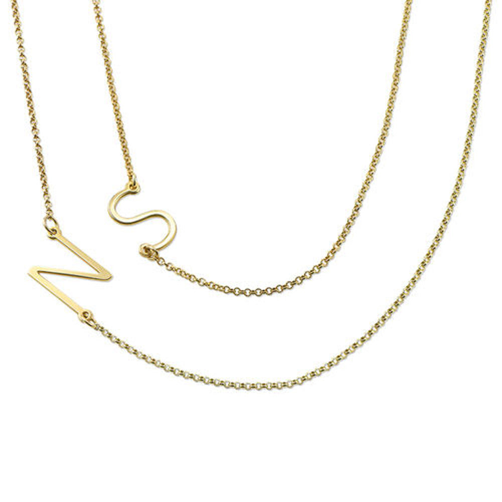 18k Gold Plated Sideways Initial Necklace