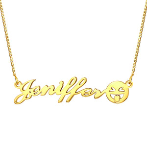 Personalized Name Emoji Necklace in Gold